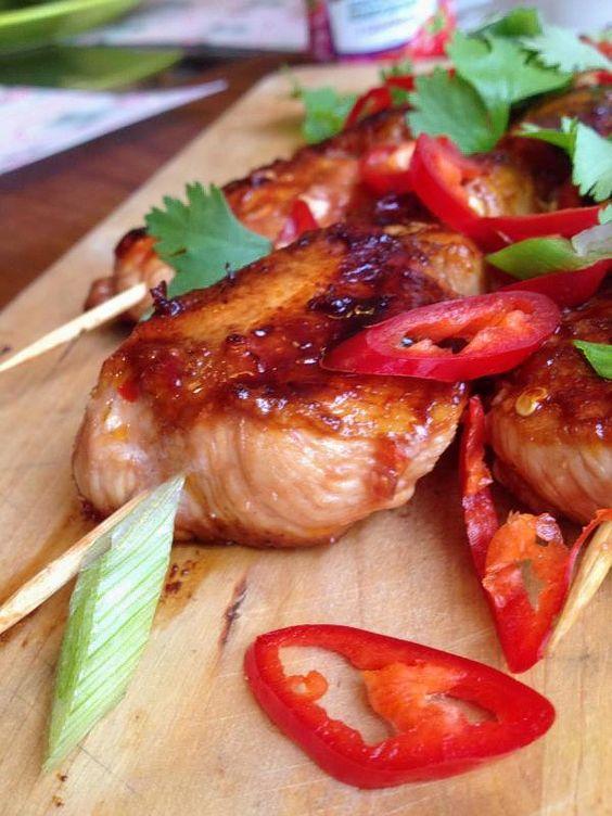 Słodko-ostre szaszłyki z kurczaka po azjatycku.
